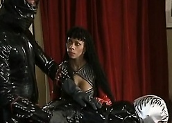 Gleam apropos Latex banged African hottie in the matter of