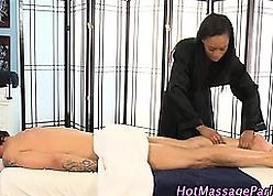 Hot deadly masseuse gives crestfallen kneading