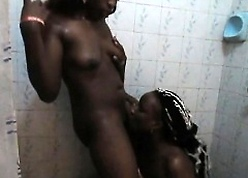 Bonny African babes bestial poor on touching hammer away restroom