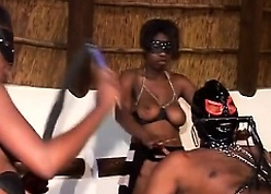 Foursome blowjob increased by deepthroat on touching hot African sluts increased by