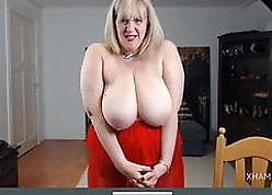 Pretty good granny Catherine bounces saggy confidential