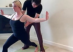 Stepson helps stepmom prevalent yoga with an increment of stretches will not hear of pussy