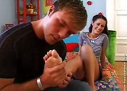 Teen indulge Alex sucking legs